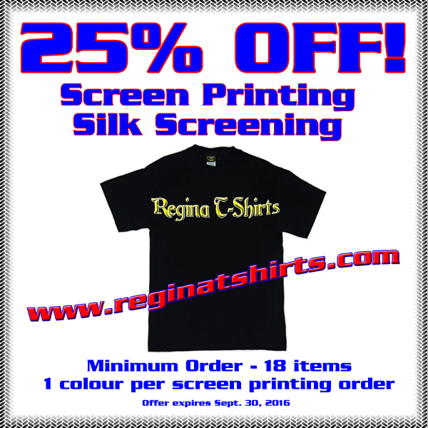 25 Off Coupon Screen Printing Regina Silk Screening